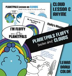 Planetpals Cloud Activity Lesson Set Learn Cloud Types Drawing Color w Fluffy Earth Science - Amped Up Learning Earth Science Lessons, Science Lesson Plans, Science Resources, Science Facts, Activities, Elementary Science, Elementary Schools, Teaching Kids, Kids Learning