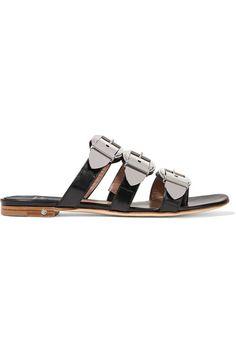 LAURENCE DACADE Natalia Buckled Leather Slides. #laurencedacade #shoes #sandals