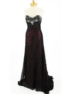 Strapless Beaded Black Lace over Burgundy Satin Evening Gown with Train-2013 this is the dress I am buying!