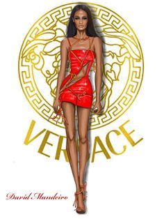 Joan Smalls by David Mandeiro Illustrations- Official Versace Couture spring/summer 2016 -