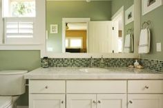 Ready to update your bathroom? Here's some tips and tricks to keep things Eco-Friendly! White Cabinets, Kitchen Cabinets, Knotty Alder Cabinets, Safe Cleaning Products, Bathroom Images, Large Bathrooms, Bed & Bath, Backsplash, Eco Friendly