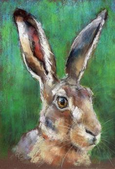 HARE PAINTING - Original A4 Pastel Portrait - Animal Art by Belinda Elliott | eBay