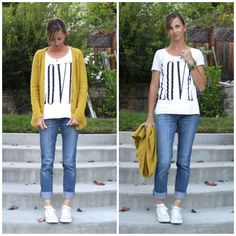 Mustard cardigan with graphic tee, rolled jeans and converse - cute and casual!