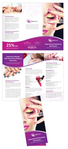 Nail Beauty Salon Tri Fold Brochure Template | 25-Tri-Fold Brochure Templates | 19-By Product | 14-All Templates | dLayouts