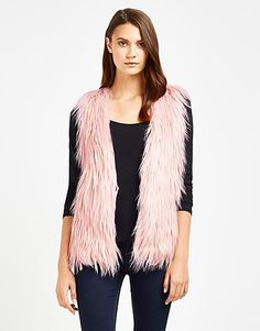 Womens pastel rose naf naf light pink faux fur sleeveless vest from Lipsy - £64 at ClothingByColour.com
