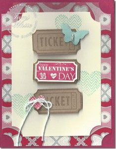 Stampin' Up! Ticket dou punch, That's the Ticket stamp set and Ticket wheel. Part 6 in my Valentines series