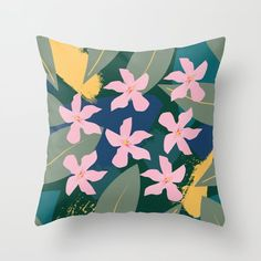 Pink Tropical Flowers and Leaves Throw Pillow by peladesign Tropical Flowers, Outdoor Throw Pillows, Home Decor Items, Your Design, Color Pop, Stationery, Leaves, Wall Art, Tabletop