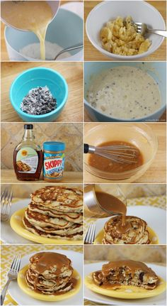 Banana Chocolate Chip Pancakes with Peanut-Butter Syrup