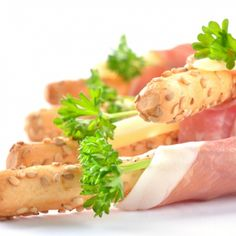 Tasty Homemade Sesame Bread Stick Proscuitto Appetizers. Homemade ...