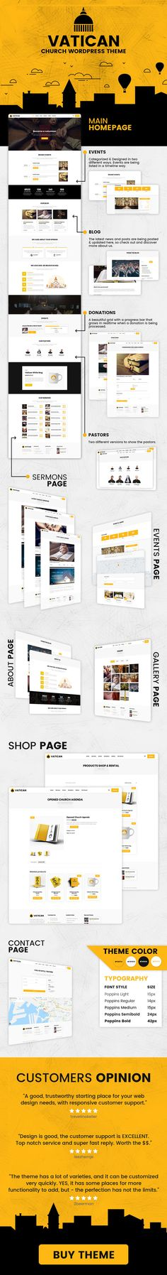 Buy Vatican - Church WordPress Theme by modeltheme on ThemeForest. Vatican is the latest WordPress Theme for Churches, Mosques or simply for Donations or Fundraising websites. Fundraising Sites, Charitable Donations, Web Themes, Blog Sites, Premium Wordpress Themes, Vatican, Things To Come, Typography, Social Media