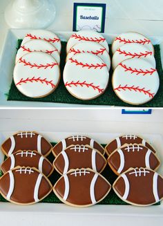 "Sports Theme Birthday Party Ideas - Baseball and Football Sugar Cookies themed birthday party ideas ""Let's Play Ball"" Sports Party {Boys Birthday Sports Themed Birthday Party, Football Birthday, Sports Party, Boy Birthday Parties, Birthday Ideas, Birthday Boys, Birthday Recipes, Kids Sports, Football Cookies"