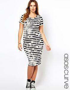 ASOS CURVE Body-Conscious Midi Dress In Grunge Stripe