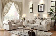Savonburg Collection Sofa & Loveseat Set 8427-3 - Pearl Igloo