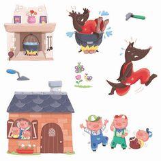 """Hello !   Un """"petit"""" aperçu d'un travail que j'ai fait récemment pour Maildor ...  Des planches d'autocollants sur des contes (que vous aur... Pig Illustration, Illustrations, Story Drawing, Geek Baby, Kids Graphics, Three Little Pigs, Cute Clipart, Cute Pigs, Nursery Art"""