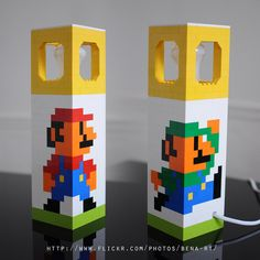 Brilliant 8-bit Mario Bros. lamp by talented Bena-rt.