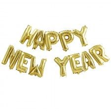 "The perfect, fun and eye catching balloon bunting to celebrate the new year! This gold balloon bunting spells out ""Happy New Year"" and can be hung on string. Gold Balloons, Letter Balloons, Happy New Year Letter, Newlywed Gifts, New Years Decorations, The Balloon, Balloon Ideas, New Years Eve Party, Bunting"