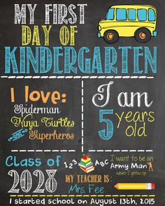Items similar to First Day of School Chalkboard Sign on Etsy Kindergarten Party, Kindergarten First Day, School Chalkboard, Chalkboard Signs, One Day, First Day Of School, Growing Up, My Love, Handmade Gifts
