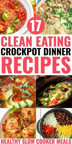 These clean eating crockpot recipes for dinner make losing weight and eating clean delicious! From one pot crockpot chicken to ground turkey, soups and clean eating chili you'll find a slow cooking healthy comfort food for dinner to add to your meal plan! Clean Eating Chili, Clean Eating Recipes For Dinner, Clean Recipes, Clean Eating Snacks, Healthy Dinner Recipes, Eating Healthy, Healthy Dinners, Healthy Food, Eat Clean Dinners
