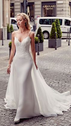 eddy k milano bridal 2017 sleeveless spaghetti straps lace bodice sheath wedding dress (md201) mv overskirt train
