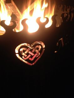 Love knots, heart back yard entertaining, fire pit
