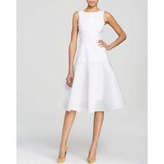 Black Halo Dress - Vogue Sleeveless Mesh Hem Fit and Flare Midi ($415) ❤ liked on Polyvore featuring dresses, white white, wet look dress, fit and flare dress, shining dress, white mesh dress and fit and flare midi dress