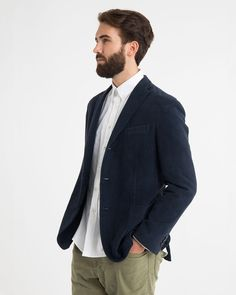 Moleskin Dover Blazer. Notched Lapel, buttoned cuffs, chest pockets, two patch pockets, partially lined. 100% cotton; sleeve lining: 50% cotton, 50% cupro. Comes in a black, grey, and navy colour way. Comes in Navy and black. $178.00 BAW15001