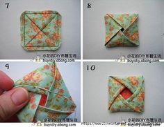 Fabric origami Quilting Tips, Quilting Projects, Sewing Projects, Quilted Ornaments, Fabric Ornaments, Origami Quilt Blocks, Fabric Crafts, Sewing Crafts, Quilt Patterns