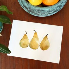 Pears art print kitchen art yellow pears art by TheJoyofColor