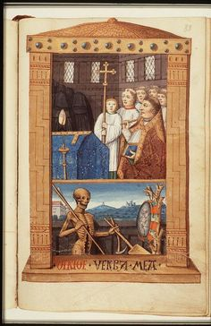 The Hague, KB, 76 F 14, Book of Hours (use of Rome),  Paris(?); c. 1490-1500,  Office of the Dead,  Death holding a spear and a spade, looking into a mirror