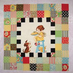 """This is on my """"projects list"""" I started this quilt a couple of days ago after I realized that my daughter does not have a quilt yet (she. Scrappy Quilts, Easy Quilts, Mini Quilts, Patchwork Quilting, Quilting Tutorials, Quilting Projects, Sewing Projects, Quilting Ideas, Panel Quilts"""