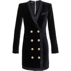 Balmain Buttoned Jacket Dress ($2,530) ❤ liked on Polyvore featuring dresses, events, black velvet cocktail dress, deep v neck dress, sexy cocktail dresses, cross front dress and sexy dresses