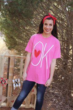Ok heart comfort colors short sleeve t-shirt