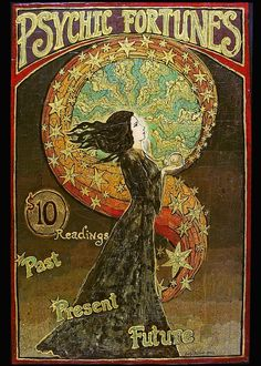 Psychic Fortunes - Art Nouveau Gypsy Circus 5x7 Card. (Ahh! I want this in a print for my office)! -Jayda