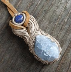 FREE SHIPPING Lapis Lazuli and Celestite Pendant