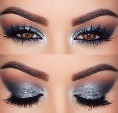 Grey Gunmetal Silver metallic smokey eyeshadow