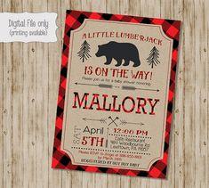 Lumberjack Baby Shower Invitation Baby Boy by SweetBeeDesignShoppe                                                                                                                                                     More