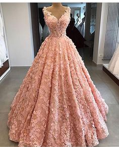 Pink v neck lace long prom dress, pink evening dress Pretty Quinceanera Dresses, Floral Prom Dresses, Pretty Prom Dresses, Quince Dresses, Sweet 16 Dresses, Ball Dresses, Beautiful Dresses, Formal Dresses, Pink Dresses
