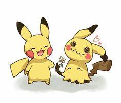 Pikachu, Mimikyu, cute, flower, heart; Pokémon