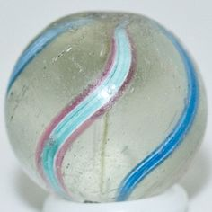 """5/8"""" Antique Glass Marble ~RARE Clear Glass Coreless Swirl Marble Double Pontil"""