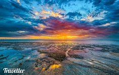 Foster City, California sunrise along the shore line, San Francisco Bay