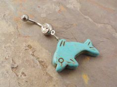Turquoise dolphin belly ring ^_^