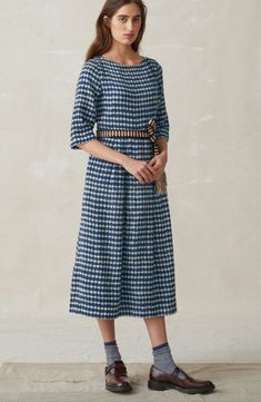 8a192d12be6d DOGTOOTH PRINT WOOL FRANCA MIDI DRESS