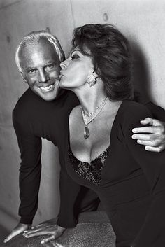 Armani with Sophia Loren, in 2005. What is her secret to look that good in her 70's.