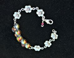 Silver Flower Bracelet with Czech Glass by practicallyfrivolous