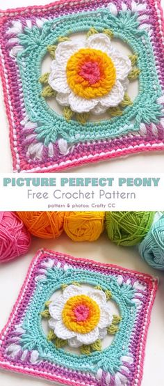 Picture Perfect Peony Square Free Crochet Pattern (Your Crochet) Crochet Flower Squares, Granny Square Crochet Pattern, Crochet Blocks, Crochet Motif, Crochet Flowers, Crochet Stitches, Crochet Granny, Crochet Afghans, Crochet Blanket Patterns