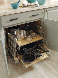хранение кастрюль, сковородок и форм