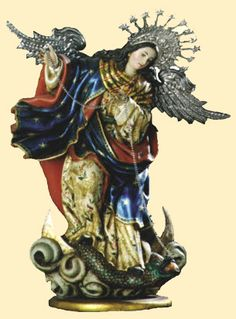 Our Lady of the Apocalypse, who hurls the chained Lucifer into the abyss of hell.