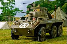 The M8 Greyhound armored car was built by Ford for use during World War II, remaining in service for quite a while after the conflict. Want to see more impressive armored vehicles? Check out this page: http://www.darkroastedblend.com/2013/02/impressive-vintage-armoured-cars.html — with Warren Sharpe.