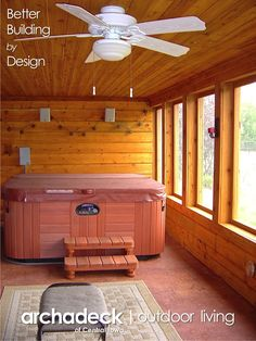 An under deck screen-in porch is the perfect spot for a hot tub. An under deck screen-in porch is the perfect spot for a hot tub. An under deck screen-in porch is the perfect spot Patio Under Decks, Deck With Pergola, Decks And Porches, Pergola Patio, Pergola Plans, Small Patio, Hot Tub Gazebo, Hot Tub Deck, Hot Tub Backyard