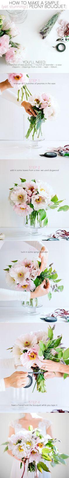 diy wedding peony bouquet tutorial via once wed